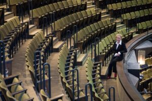 Laura Leyser poses in the world-famous Festival Theatre in her home town of Stratford, Ont. (Photos by Irene Miller)