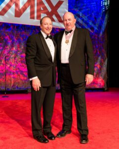 Re/Max of Western Canada EVP Elton Ash, left, presents Stan Newman of Re/Max Professionals, Winnipeg with the Robert H. Cherot award at the Western Canada Awards Gala in Las Vegas.