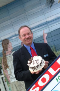 REM surprised Marty with a cake to celebrate his 100th column in 2003.