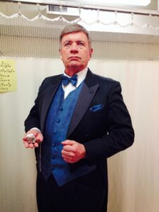 A frequent community theatre actor, Marty is seen here in his role as Underling in The Drowsy Chaperone.