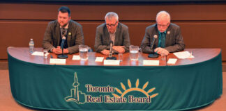 Federal party representatives, from left, Wes Regan, urban affairs and housing critic for the Green Party of Canada; Adam Vaughan, urban affairs and housing critic for the Liberal Party of Canada; and Mike Sullivan, deputy housing critic for the New Democratic Party of Canada. The candidates discussed housing issues at TREB's housing forum during the 2015 federal election campaign.