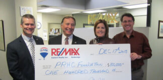 John Hope and the sales reps and staff at Re/Max Eastern Realty donated $100,000 to the Peterborough Regional Health Centre Foundation.