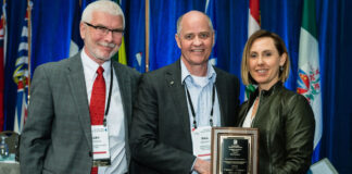 From left: Gary Simonsen, CEO of CREA; Bill Madder and Lynette Keyowski, chair of the AE Committee.