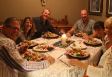 Bart and Ingrid Dilschneider and friends enjoy their meal, which was served by Steven and Annette Bergg of the Bergg Homes Team in Kelowna.