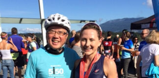 Sales rep David Eng volunteered as lead cyclist for the fastest woman at a recent triathlon.