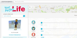 """A screenshot of Royal LePage's online neighbourhood matching tool """"Your Perfect Life""""."""
