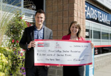 Broker Mark Faris presents a cheque for the purchase of 25,000 Shelter Blooms to Royal LePage Shelter Foundation fundraising and communications co-ordinator Carly Neill.
