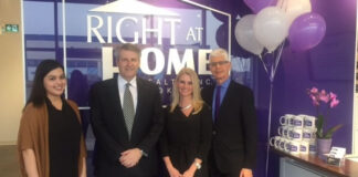 At the Right At Home Newmarket office grand opening, from left: Allison Wilton, administrator; Charles Morrison, branch manager; Angie Smith, administrator; and Howard Drukarsh, president and broker of record.