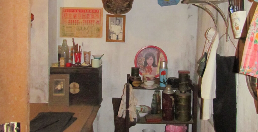 Interior of a Majies Cubicle (celibate maids cubicle) from the museum in the Chinatown Heritage Centre in Singapore.