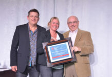 From left: Steve Park, SLREB president; Krista Del Gatto, EO, Ontario Realtors Care Foundation; and Dave Burk, EO, SLREB.