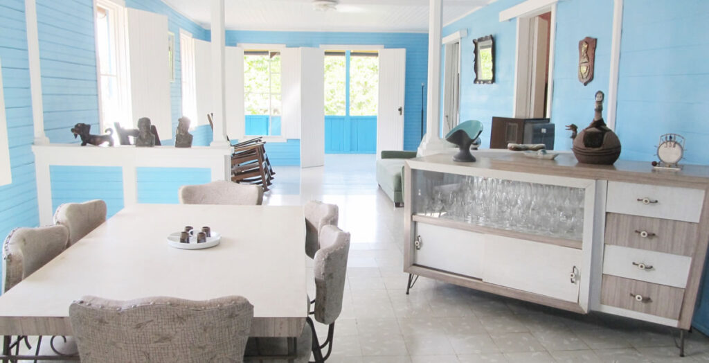 The dining room and living room of the home near Biran, Cuba where Fidel Castro and his younger brother Raul spent their childhood years.