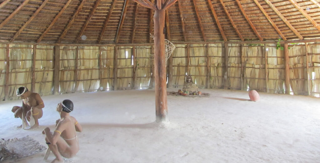 The interior of one of the recreated Taino huts.
