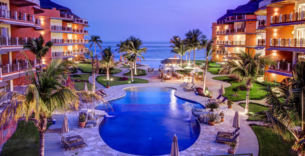 The resort includes an infinity pool with a swim-up bar, a bistro, a general store and a family pool with a waterfall.
