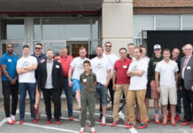 Participants get ready to head out in their heels at the Royal LePage Atlantic – Halifax Walk a Mile in Her Shoes fundraising event.