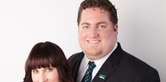 Kristen Trembinski and Rob Trembinski, who along with Jamie Coccimiglio were named Exit Realty Broker Owners of the Year for Canada.