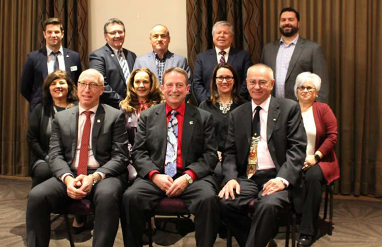 The OREB 2018 Board of Directors. Top row, from left: Andrew Ouellette, David Armstrong, Dennis Tarrant, Tim Lee, Paolo Farago. Middle row: Penny Torontow, Deborah Burgoyne, Dominique Milne, Anne Scharf. Bottom row: Rick Eisert, Ralph Shaw, Dwight Delahunt. Not present: Richard Smith.