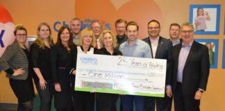Re/Max Real Estate (Central) staff, brokers and sales reps proudly display their cheque to the Alberta Children's Hospital.