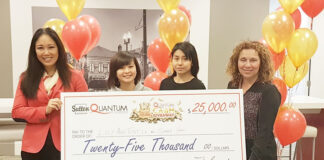 From left: Sales rep Tessa Rojas, prizewinners Lucy Anh Tuyet Le and Shara Hap and broker of record Tina Gardin.