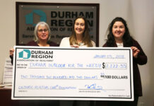 DRAR EO Wendy Giroux, left, and governance and events co-ordinator Kate Johnson, centre, present the cheque to Durham Outlook For The Needy director of fundraising Alexandra Valcour.