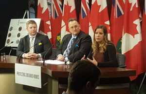 Presenting the Action Plan for Cannabis Legislation at Queen's Park, from left: Matthew Thornton, OREA's VP of public affairs and communications, David Reid, president of OREA; and Larissa Smit, OREA's manager of policy.