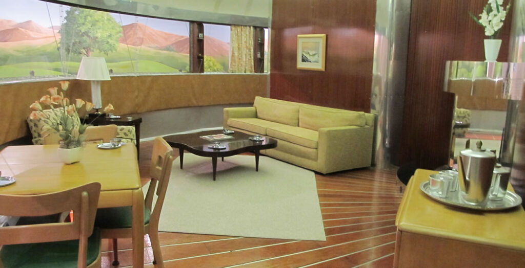 The living room of the Dymaxion House.