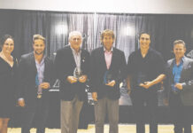 KADREA award winners, from left: Audrey Shaw, Royal LePage Westwin and Kamloops Realty; Tyler Becker, Royal LePage Westwin and Kamloops Realty; Bob Gieselman, Coldwell Banker Kamloops; Finlay Sinclair; Trent Thompson, Brendan Shaw Real Estate; and Scott Andruschak, River City Realty. Not present: Doug Barclay, Barclay Home Inspections.
