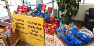 Living Realty donated collected food and $2,000 to the local food bank.