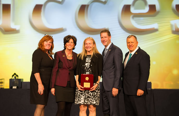 From left:  Tami Bonnell, Exit CEO, Joyce Paron, Exit president - Canada; Maggie Tessier, broker/owner, Exit Realty Matrix; Craig Witt, Exit president - U.S.A.; and Steve Morris, Exit founder and chairman.