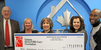 At the Ottawa Real Estate Board cheque presentation to Maison D'Amitie, from left: John Rogan, broker of record, RLP Performance Realty; Judy Mulligan, manager, administrative support, RLP Performance Realty; Francine Groulx, executive director, Maison D'Amitie; Deborah Burgoyne, 2018 Realtors Care Committee Chair/2019 OREB president-elect and salesperson, RLP Team Realty; and Tony McDermott, 2018 Realtors Care Committee member and salesperson, Homelife Capital Realty.