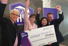 From left: Howard Drukarsh, co-founder, Right At Home Realty; Ene Underwood, CEO, Habitat for Humanity GTA; Eva Liu, VP of finance and administration and John Lusink, president and broker of record, Right At Home Realty.