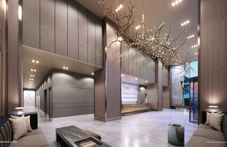 A rendering of the lobby of The United Building.