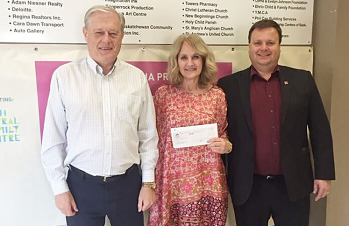 ARR CEO Gord Archibald, left and ARR president Dave Markus, right present the cheque to NCFC executive director Sandy Wankel.