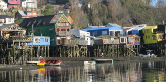 Palafitos in Castro, the capital of the island of Chiloe in Chile.