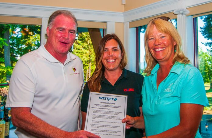 From left: Bill Anglin, sales rep at Re/Max Ocean Pacific Realty and Comox Valley Health Care Foundation director; sales rep Jen Bood; and golf tournament prize winner Janine Martin.