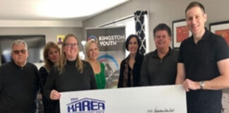 From left: Bob Metcalfe; Ruth Woodman, executive director, Kingston Youth Shelter; Theresa Mitchell; Sherri Paterson; Mary Ambrose; Dave Pinnell Jr.; and Stuart Trier, chair of the Board of Directors, Kingston Youth Shelter.