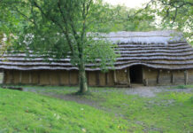 An exterior view of the Neolithic longhouse.