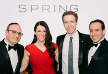At the Gala Launch of the Marlin Spring Foundation, from left: Marlin Spring co-founder and CFO Elliot Kazarnovsky; Marlin Spring Foundation executive director Shayna Haddon; WE Charity co-founder Craig Kielburger; and Marlin Spring co-founder and CEO Benjamin Bakst.