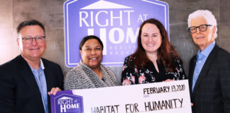From left: John Lusink, president of Right at Home Realty; Adwoa Buahene, Habitat for Humanityvice president of donor partnerships; Francine Negre Laroche, Habitat for Humanitysenior manager, corporate partnerships; and Howard Drukarsh, co-founder and broker, Right At Home Realty.
