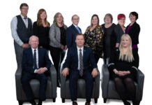 The VIREB 2020 Board of Directors. Front row: Ian Mackay, president elect; Kevin Reid, president; Kaye Broens, past president. Back row: Directors David Procter, Shae Webber, Kelly O'Dwyer, Bill Benoit (EO), Ashley Stawski, Janet Scotland, Judy Gray and Erica Kavanaugh.