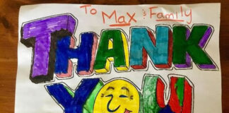 A thank-you note received by Max Hahne and Tammy Abbotts from a local family.
