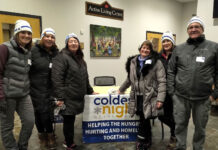 Taking part in the Coldest Night of the Year fundraiser, from left: Ashley Cathrall, office administrator; sales reps Nikki Mullin and Karen Maguire; broker Sharon Busse; and Karen Docherty, spouse of broker of record/owner Trevor Docherty.