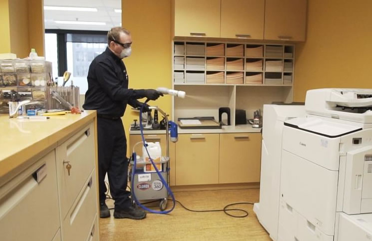 Some companies are arranging a professional disinfecting service prior to opening.