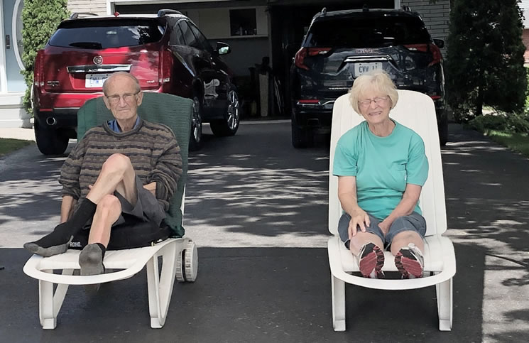 Chuck and Beth Willes during the drive-by early this summer.