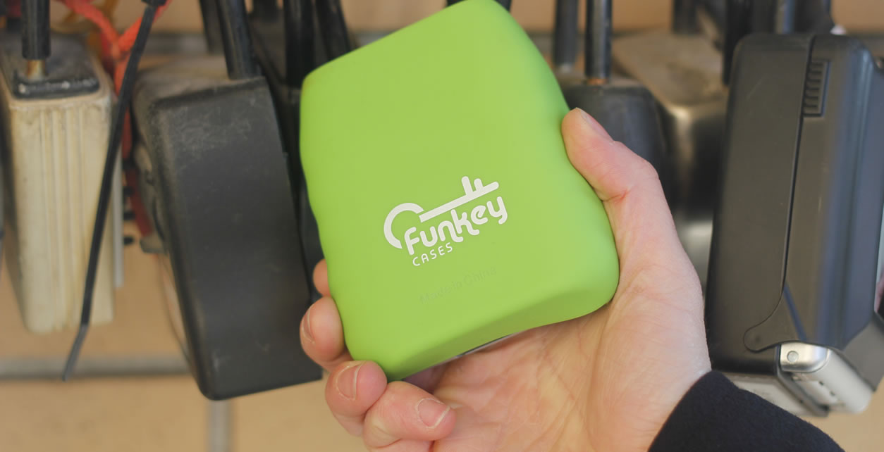 FunKey Cases stand out in a sea of black lock boxes.