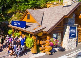 """""""This iconic log cabin is the perfect setting for our office,"""" says Sotheby's International Realty Canada president Don Kottick."""
