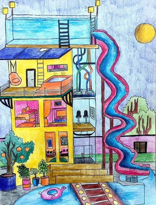 This colourful dream home by Souradrita, 12, of Mississauga, Ont. features a top-of-the-line security system including shatter-proof glass and fingerprint scanners. Once inside, you can enjoy two swimming pools, a hot tub and a waterslide, perfect for entertaining friends and family. It even comes with extra room for your pets.
