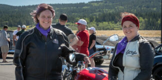 "Enjoying the ""Cruz 4 Her"" fundraising ride are Tara McFadden of the Big Hill Haven Women's Shelter and Debbie Leah, sales representative with Royal LePage Allstar. (Photo: Jacquie Matechuk Photography)"