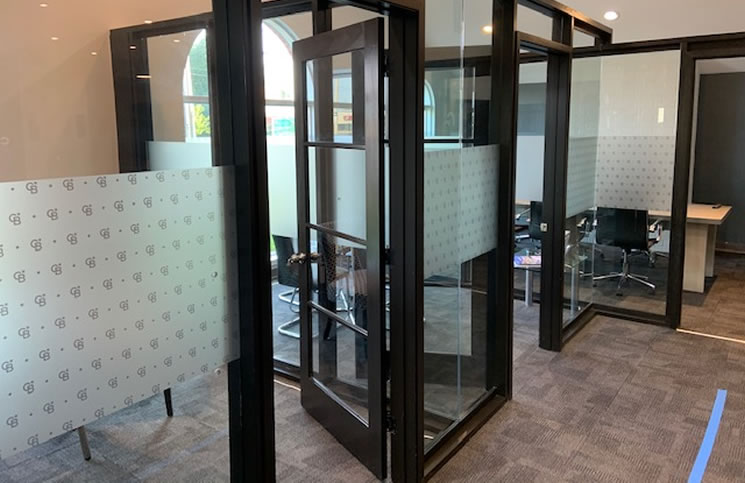Glass doors from the Suits set, now being used in the Whitby office of Coldwell Banker RMR.