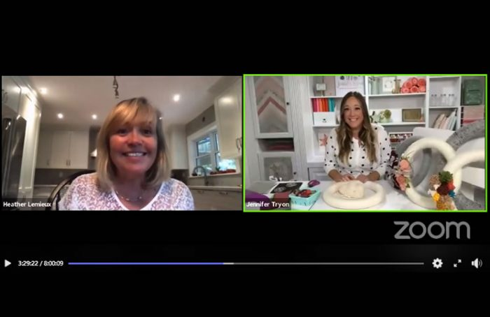 Heather Lemieux, left, is joined by crafter Jennifer Tryon during her Virtual Uplifting Party.
