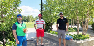 Getting ready to tee off, from left: Jeff Nethercott, Royal LePage Canada president and CEO Phil Soper and Mike Cullis.